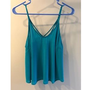 Lush teal crossback tank top XS